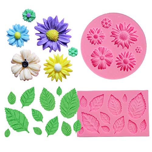 BAKHUK 2pcs Flower Fondant Candy Mold, Daisy and Leaves Collection Silicone Fondant Mold for Chocolate, Sugercraft Cake Decoration Kit, Polymer Clay, Soap Wax Making Craft Set (Daisy Chocolate Molds)