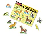 Melissa & Doug Pets Sound Puzzle - Wooden Peg Puzzle With Sound Effects (8 pcs)