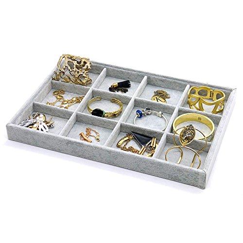 30 Grid Homyl 2 Pcs Premium Grey Velvet Stackable Jewelry Tray Showcase Display Organizer