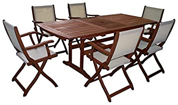 Set Impression Tisch Holz Ausziehbar Mit 6 Sessel Stühle Möbel Outdoor