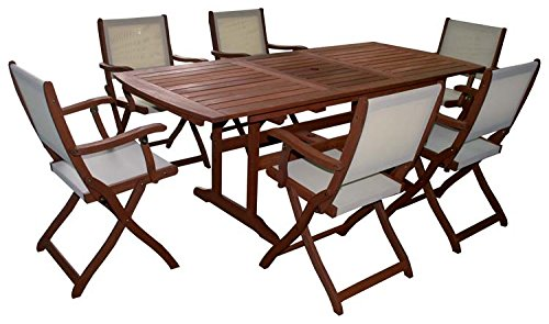 set impression tisch holz ausziehbar mit 6 sessel st hle m bel outdoor g nstig kaufen. Black Bedroom Furniture Sets. Home Design Ideas