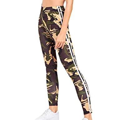 24561f4f0fb4cd JOFOW Womens Leggings Leopard Camo Snakeskin Print Side Striped High Waist  Casual Stretch Slim Comfy Pants at Amazon Women's Clothing store: