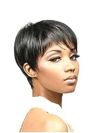 Amazon.com   Tsnomore wig pixie cut wig Fashion Women Trendy Short Black  Synthetic Boycut Wig   Beauty ff42a66c4