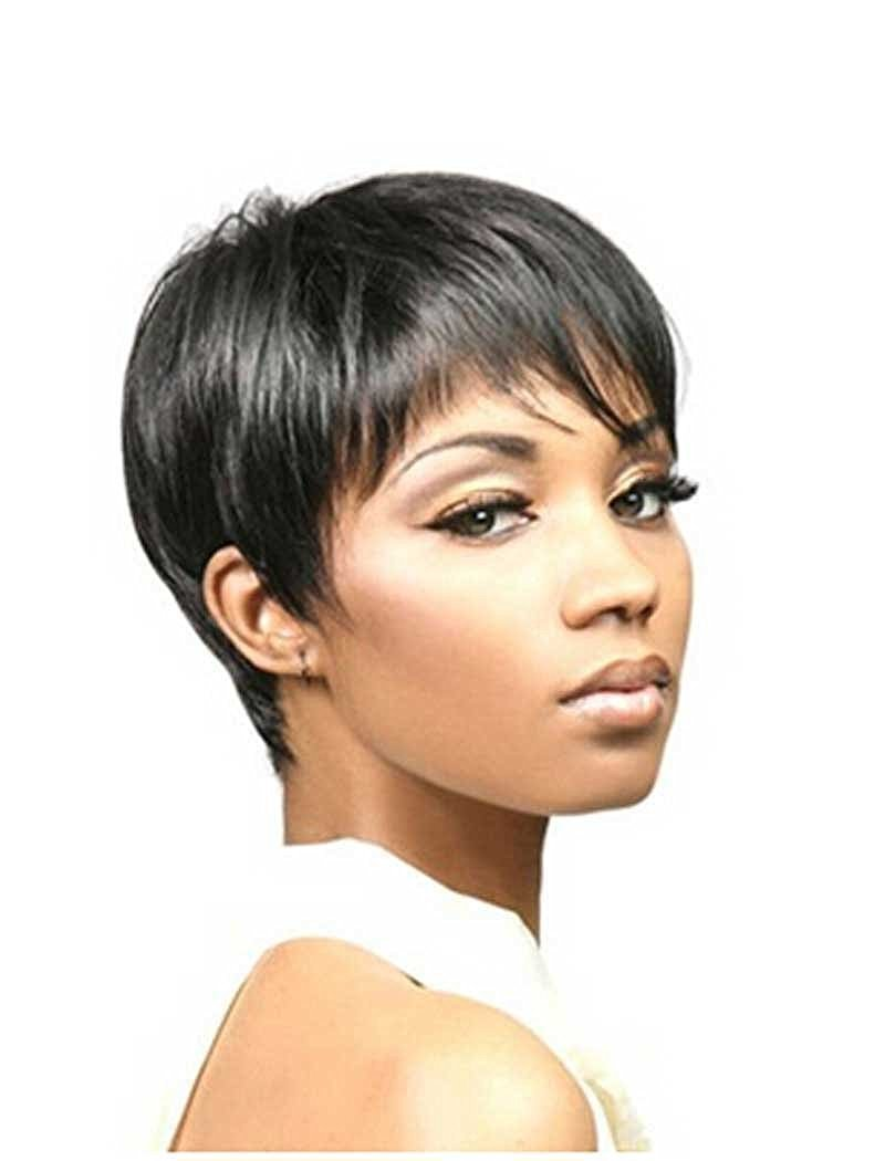 Amazon.com   Tsnomore wig pixie cut wig Fashion Women Trendy Short Black  Synthetic Boycut Wig   Beauty 99145cdb85