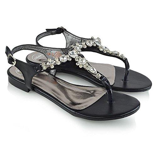 ESSEX GLAM Mujer Plano Toe Post Diamante Sintético Fiesta Sandalia Negro Cuero Sintético