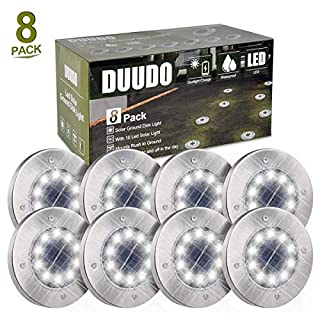 DUUDO Solar Ground Light, Upgraded 10 LED Garden Pathway Outdoor Waterproof in-Ground Lights, Disk Lights (Cold White, 8 Packs)