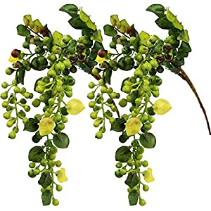 Rinlong Artificial Berries Hanging Spray Frosted for Flowers Arrangement Home Hotel Decor 2pcs per Pack 7