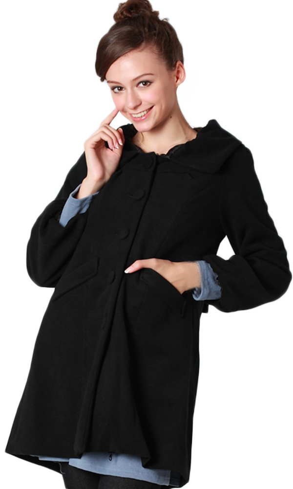 Sweet Mommy Elegant Maternity and Mother's Coat with baby pouch Black, M