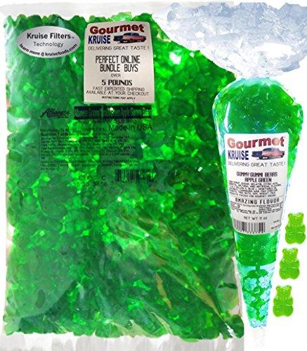 Green Gummi Gummy Bears Apple Albanese - Bulk Candy 5lb Bag With Green Apple Gourmet Kruise Signature Gift Bag 11 OZ (NET WT 5 LBS.11OZ) 2 Item Bundle