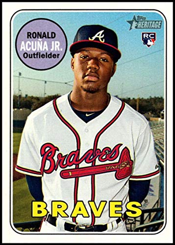 (2018 Topps Heritage High Number Baseball #580 Ronald Acuna Jr. RC Rookie Atlanta Braves Official MLB Trading Card)