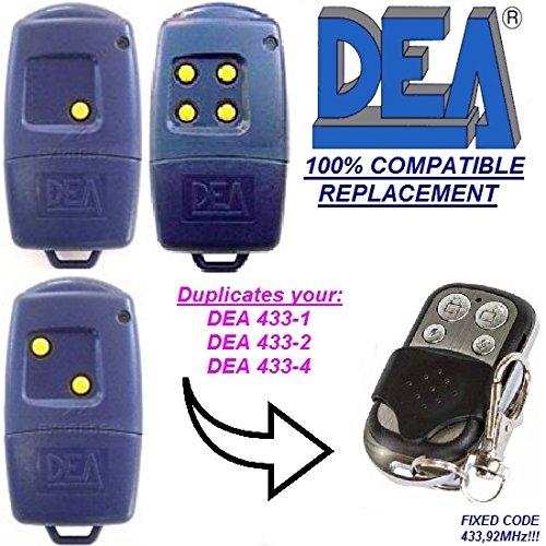 DEA 433-1 / DEA 433-2 / DEA 433-4 compatible mando a destancia, 433,92Mhz fixed code CLON, 4-canales reemplazo transmisor Al mejor precio!!! DEA replacement remote / clone