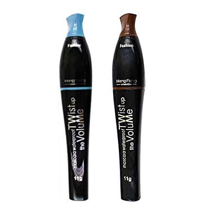 2 Pack Colorful Waterproof Mascara for Eyelash Makeup, Blue & Dark Coffee Professional Color Mascara