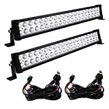 LED Light Bar YITAMOTOR 2PCS 24 inch Light Bar Spot Flood Combo Offroad Driving Lights with Wiring Harness compatible for ATV Jeep Truck 4x4 4WD Trailer UTV Boat 120W - 10,800 Lumens, 3 Years Warranty