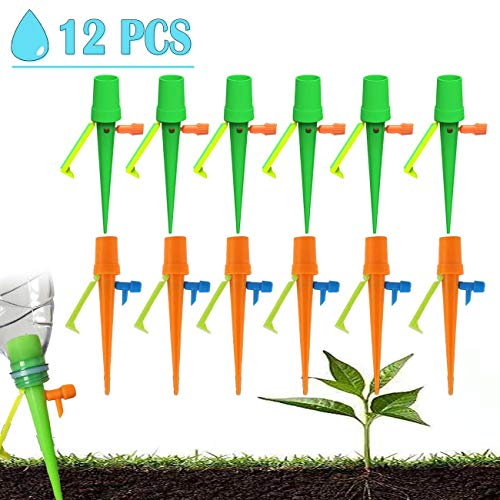 [2019 NEW]Plant Self Watering Spikes,with Slow Release Control Valve Switch Self Irrigation Watering Drip Devices,Plant Waterer with Anti-Tilt Anti-Down Bracket, Bracket Support for Outdoor Indoor Flo (Best Irrigation Controller 2019)