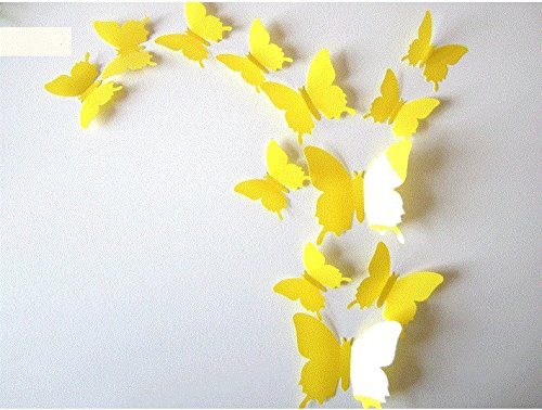 Walplus Yellow 3D Flowers Wall Stickers Removable Self-Adhesive ...