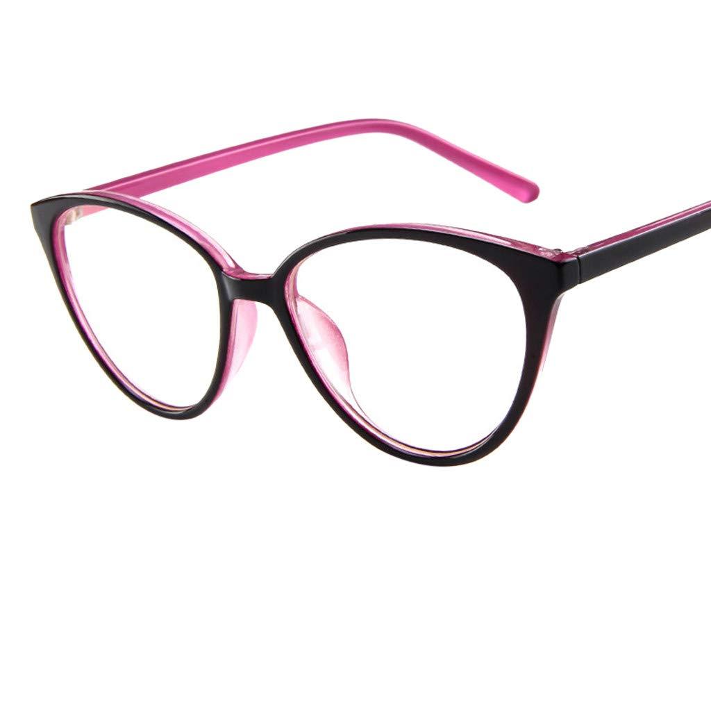 Reading Glasses GREFER Stylish Clear Lens Frame Glasses Blocking for Computer for Men Women G0433 (Pink)