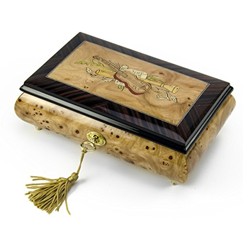 Timeless Handcrafted Musical Theme Wood Inlay Musical Jewelry Box - Over 400 Song Choices - Reich Mir Die Hand Mein Laben SWISS (Box Wood Mira)