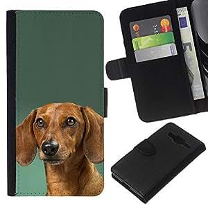 eJoy---La carpeta del tirón la caja de cuero de alta calidad de la PU Caso protector - Samsung Galaxy Core Prime - --Dachshund Green Doxie Dog Puppy