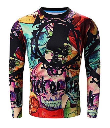 MNSHSA Mens Hip Hop Halloween Sweatshirt Costume Pullover Outwear RedUS Large-(China 2X-Large) Classic Super-awesome