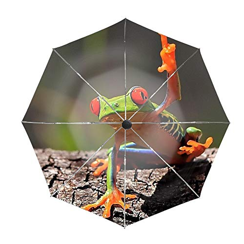 Animal Red Eyed Tree Frogs Travel Umbrella,Compact 46 Inch Rain Umbrella for Men Women, Auto Open Close ()