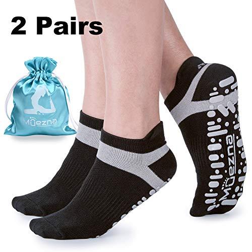 Muezna Non Slip Yoga Socks for Women, Anti-Skid Pilates, Barre, Bikram Fitness Socks with Grips, Size 5-10 (2 Pack of Black)