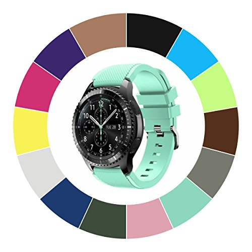 Midenso Bands for Gear S3 Frontier / Classic / Moto 360 2nd Gen 46mm Watch Silicone Bracelet, Sports Silicone Band Strap Replacement Wristband For Samsung Gear S3 Frontier / S3 Classic (Teal)