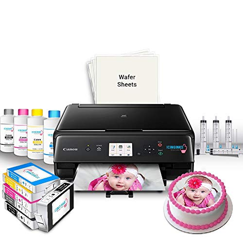 (Icinginks Edible Printer Bundle for Canon – Includes Edible Printer for Cakes, Edible Ink Cartridges, Edible Wafer Papers, Edible Ink Refill and Kit – Edible Image Printer for Edible Photo Printing)