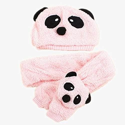 BuyHere Unisex-Baby Panda Cap with Scarf Set,Pink ()