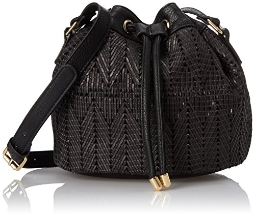 (POVERTY FLATS by rian Women's Woven Small Bucket Bag, Black One Size)