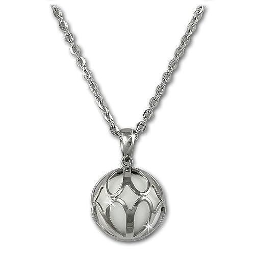 Amello Edelstahl Halskette mit Kugel Anhänger Achat weiß - Edelstahlschmuck für Damen - ESKY02W