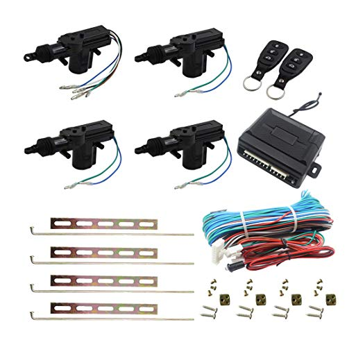 Henzxi Universal Car Power Door Lock Actuator 12V Motor (4 Actuactors + Keyless Entry)