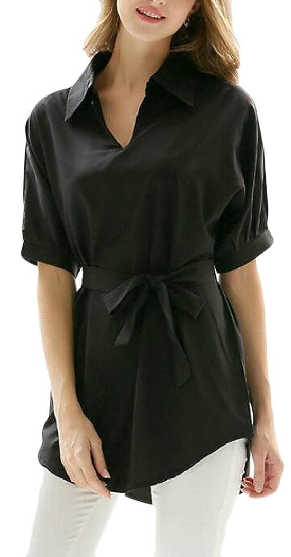 Hajotrawa Women 3//4 Sleeve Belt Curved Hem Lapel Neck Relaxed Top Blouse T-Shirts