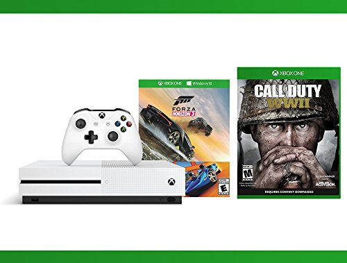 Xbox One S 500GB Console – Forza Horizon 3 Hot Wheels Console Bundle + Call of Duty WW II + WWE 2K16 Bundle ( 3 – Items )