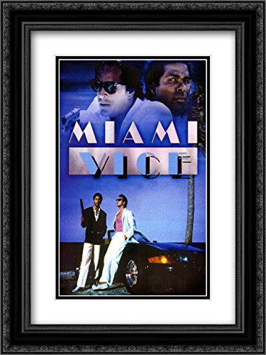 Miami Vice 20x24 Double Matted Black Ornate Framed Movie Poster Art - Galleria Miami