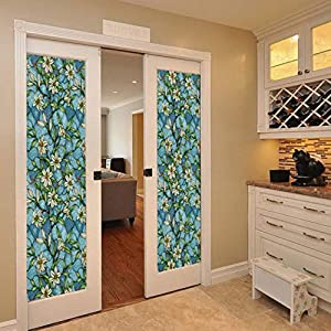Bloss Window Film Privacy Static Clings Orchid Colored No-glue Decorative Vinly Self Static Film Sticker for Office Home Bedroom Bathroom Kitchen 17.7 x 78.7 Inches