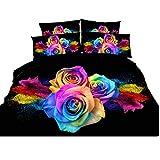 Enjohos 3D Colorful Rose Bedding Cotton Black Bed Set Floral Duvet Cover Set 4 Pcs Bed in a Bag, Including Duvet Cover, Flat Sheet, 2 Pillow Cases (Full)