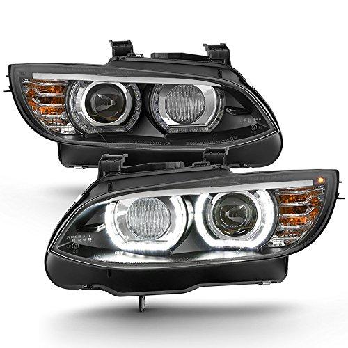 ACANII - For HID/Xenon 2007-2010 BMW E92 E93 328i 335i Coupe F32 Style LED 3D Halo Headlights Black Driver & Passenger