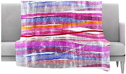 Kess InHouse Frederic Levy-Hadida Fancy Stripes Pink Fleece Throw Blanket 60 by 50-Inch
