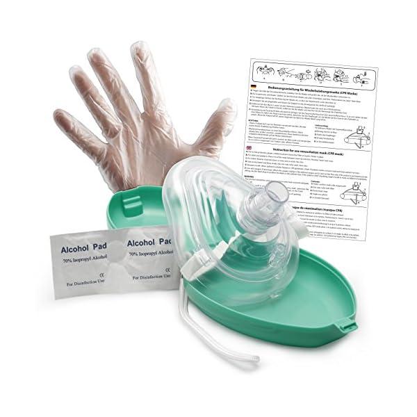 Lunata (Upgrade 2019) CPR Mascarilla de primeros auxilios CON conexión de Oxígeno, Máscara para Respiración artificial de Emergencia, Máscara de Emergencia, Máscara de Reanimación 1
