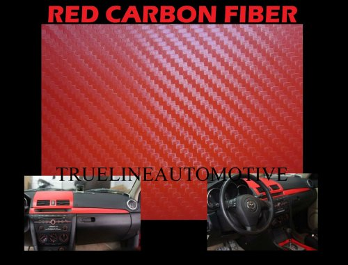 Ford Probe Carbon Fiber Hood - 1994-1997 FORD PROBE RED Carbon Fiber Hood Dash Mirror Roof Wrap Sheet Vinyl Decal 60'' x 60'' 1995 1996 94 95 96 97