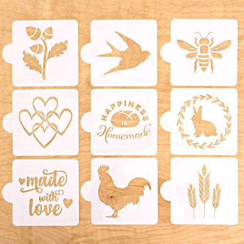 Vie De Pain European Artisan Bread Stencils (Set of 9) - Perfect for Decorating & Baking Bread Loaves, Cakes, Pies or Cookies- 5.25 x 5.25 In. ()
