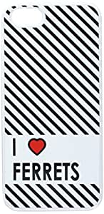 Graphics and More I Love Heart Ferrets Snap-On Hard Protective Case for iPhone 5/5s - Non-Retail Packaging - White