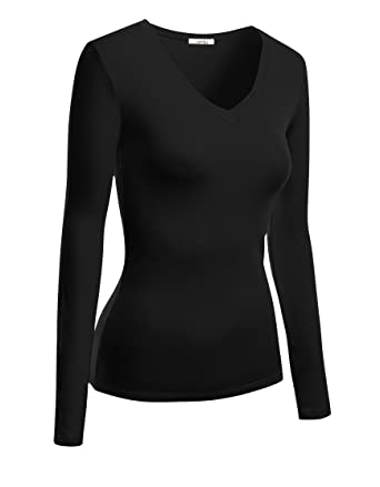 1a95d61b594 Womens Cotton Basic V neck Long Sleeve Tee Shirt Top at Amazon ...