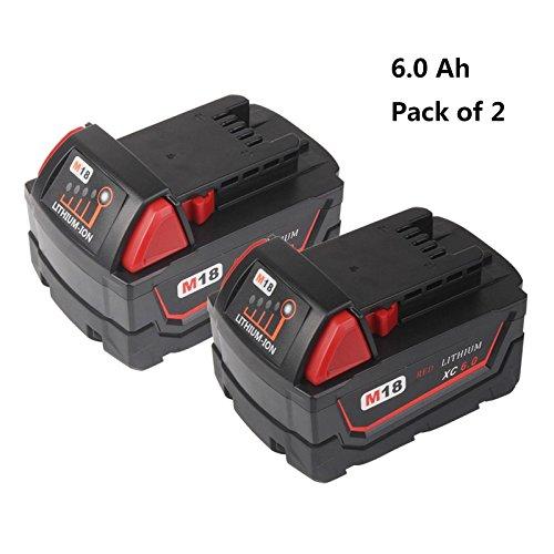 M18 Battery for Milwaukee, 2 Pack 6.0 Ah Tool Replacement Battery for Milwaukee M18B 48-11-1820 48-11-1850 48-11-1860 48-11-1828 48-11-10 Cordless Power Tools (18V, Li-ion)