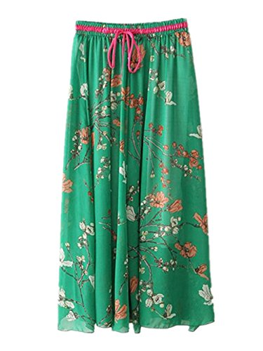 Haililais Taille BohMe Ample Dark Mousseline Femme Plage De Green Jupe Grande Jupe Swing Femelle Floral Lacets Jupe Longue Big Vintage Jupe Skirt r7PUwrqO