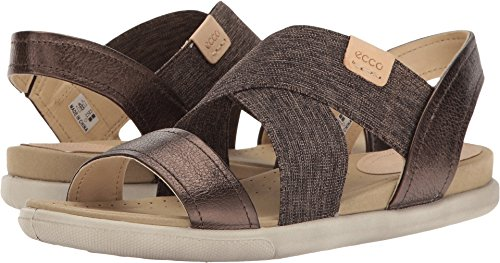 ECCO Women's Damara 2-Strap Flat Sandal, brown, Licorice/Powder, 38 EU/7-7.5 M US