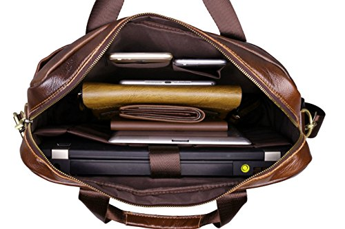 a710df00e570 Polo VIDENG Men s Genuine Leather Handmade Briefcase Shoulder Messenger  Business Bag for MacBook Laptop (Coffee Brown)  Amazon.co.uk  Luggage
