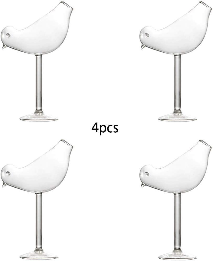 KNDJSPR Copa de cóctel, Copa de cóctel Creativa con Forma de pájaro, Juego de 4 Piezas de 7 onzas, Utilizado para degustación de vinos Bar de Bodas, Regalo de decoración para Familiares y Amigos