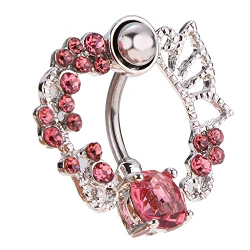 (Pink White Butterfly Crystal Flower Belly Button Ring Navel Barbell Jewelry (Color - Pink Diamond))