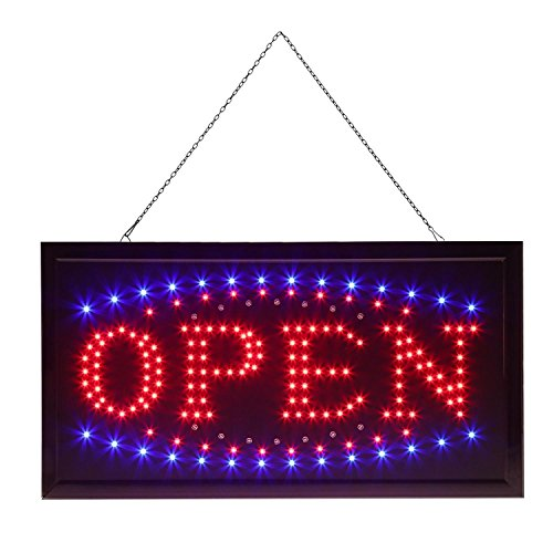 Leoneva LED Open Sign for Business Displays+with 2 Flashing Modes, On/Off Switch Bright Light Neon with Chain (Black 1) -